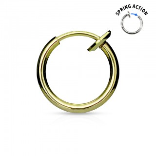 Multifunctional titanium plated spring clip on piercing - Gold