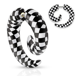 Fake spiral taper with chess pattern