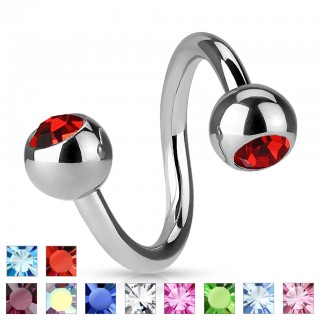 Twister piercing with gems in both balls