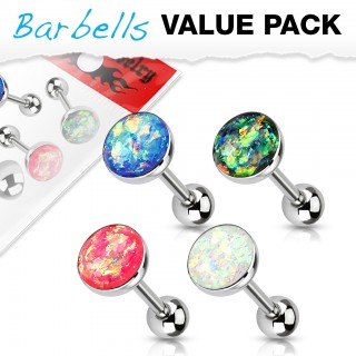 Set of 4 barbells with big glitter opal gems