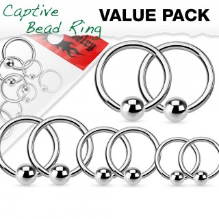 Value pack of steel ball closure rings