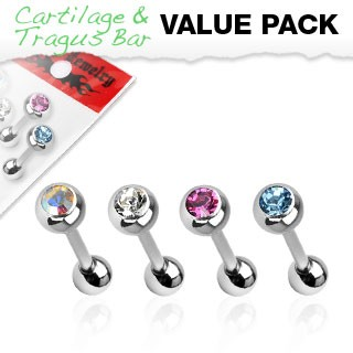 Set of four barbells with crystal