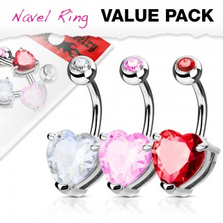 Three belly bars with coloured crystal heart