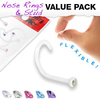 Set of 5 flexible screw nose piercings with coloured crystal