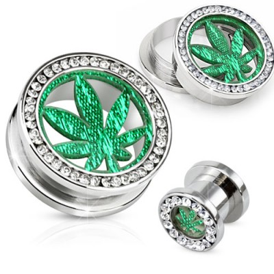 Screw fit tunnel met kristallen en glitter marihuana blad