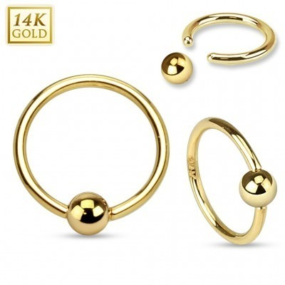 Massief gouden ball closure ring