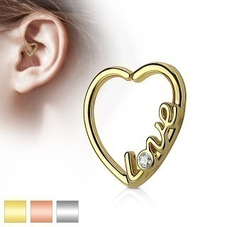 "Piercing ring in hart vorm met 'Love"" en diamantje"