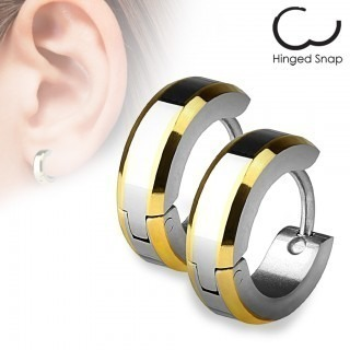 Ear hoops with double coloured plated edges