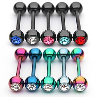 Titanium plated barbell met 1 steentje