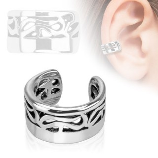 Clip on helix ring met tribal lijnen