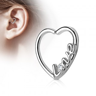 Piercing ring in hart vorm met 'Love