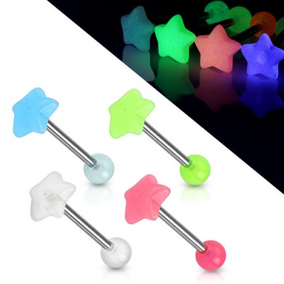 Stervormige Glow in the Dark tongpiercing