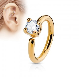 Piercing ring met prong set diamantje