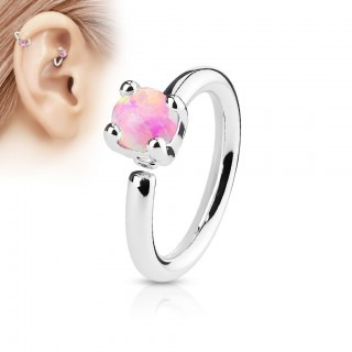 Piercing ring met prong set gekleurde opaal
