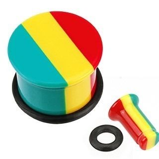 Single flared plug van acryl met rasta strepen