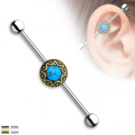Vintage Industrial Barbell with tribal stardust and Turquoise precious stones