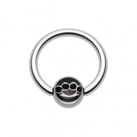 Ball closure ring met boksbeugel symbool op balletje