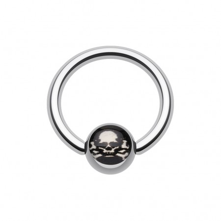 Ball closure ring met piratenschedel op balletje