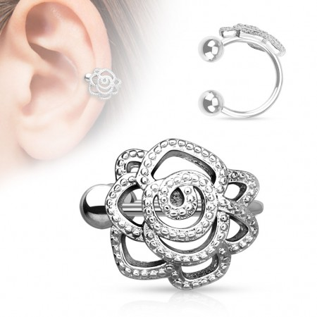 Clip on helix ring met roos