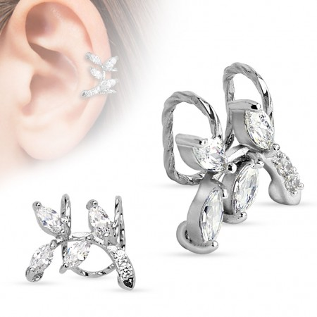 Clip on helix ring met kristallen takje