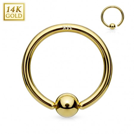 14K. gouden ball closure ring met vast balletje