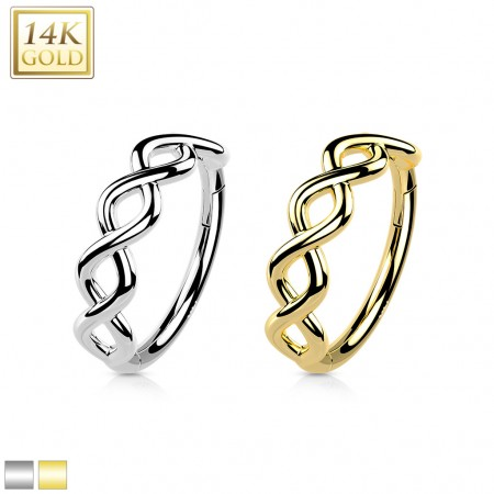Solid Gold Hinged Segment Ring with Braiding Pattern