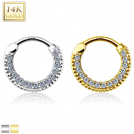 Solid gold septum clicker with long round row of crystals