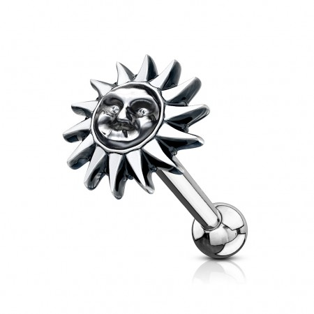 Oor piercing barbell met tribal zon