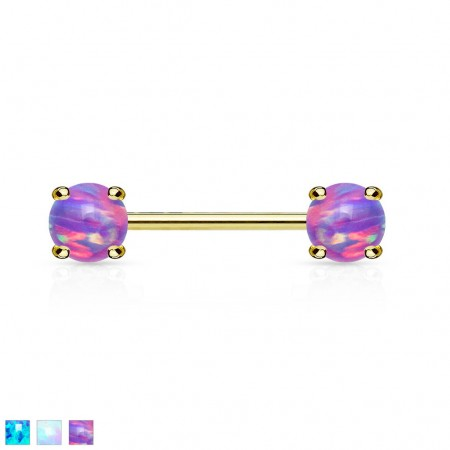 Gold nipple bar with prong set coloured opal front balls