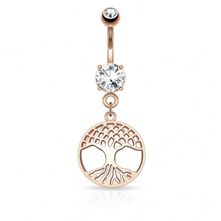 Rosé vergulde navelpiercing met Tree of Life hanger