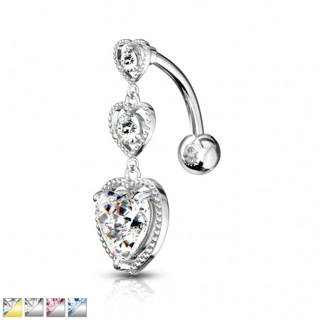 Reverse belly bar with ascending hearts with crystals