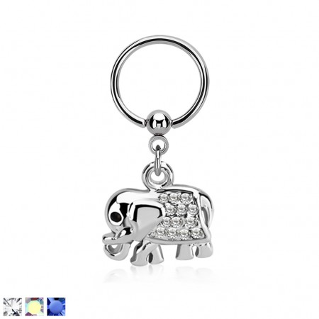 Ball closure ring met olifant hanger en gekleurde kristallen