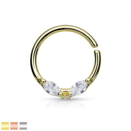 Bendable septum ring with two gems