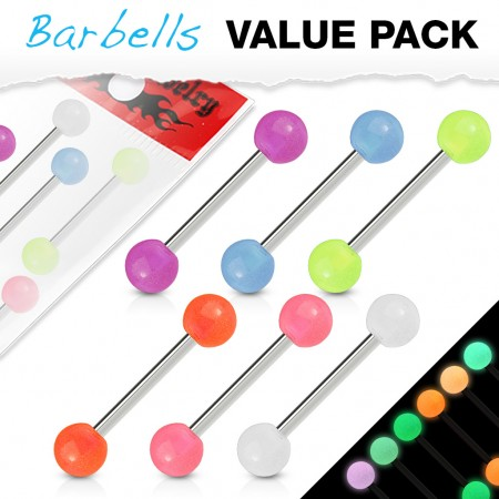Set van zes glow in the dark barbells