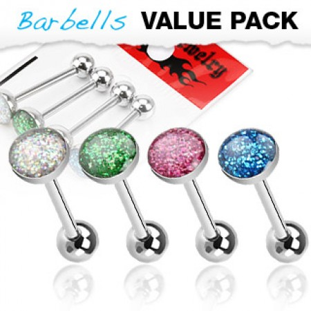 Set van 4 glitterbal tongpiercings