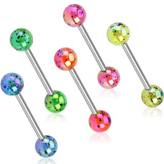 Barbell with acrylic balls and Aurora Borealis coating
