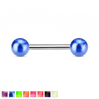 Barbell with metallic balls