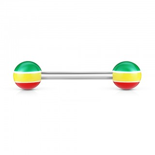 Barbell with Rasta coloured balls