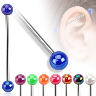 Industrial piercing with metallic coloured balls