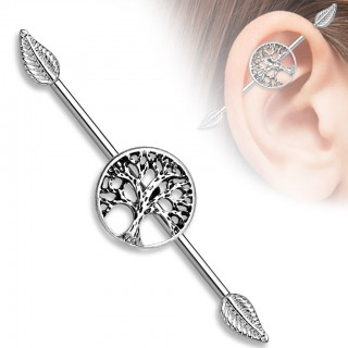 Industrial barbell with Tree of Life