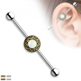 Classical industrial barbell with tribal stardust and glittering opal stones