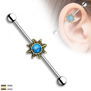 Vintage Industrial Barbell with tribal sunburst and Turquoise precious stones