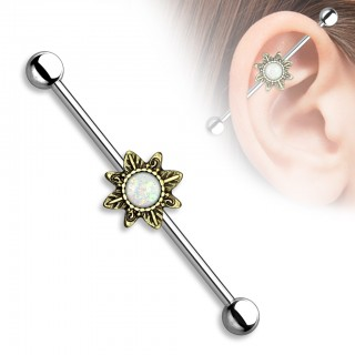 Vintage industrial barbell with tribal sunburst and glitter opal gems - Vintage Gold Plated