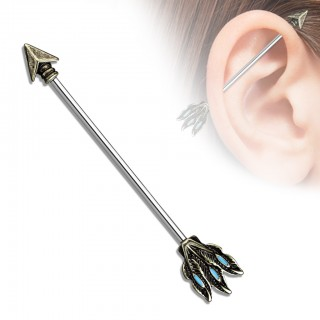 Industrial barbell with Tribal arrow design