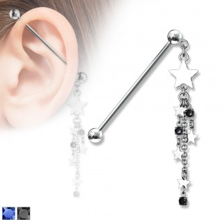 Industrial barbell piercing with dangling stars and chain