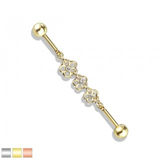 Coloured industrial barbell with triple flower chain centre