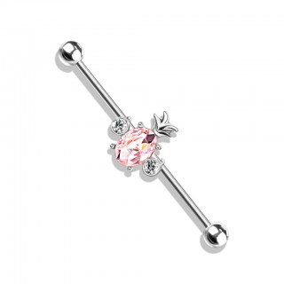 Coloured industrial barbell with crystal pineapple in centre – Silver – Pink