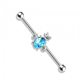 Coloured industrial barbell with crystal pineapple in centre – Silver – Aqua