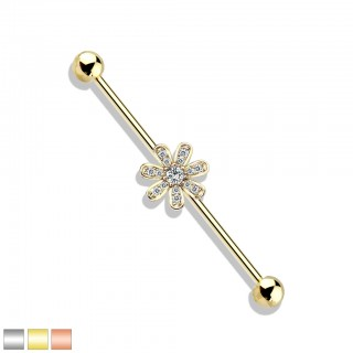 Industrial barbell with micro crystal paved flower