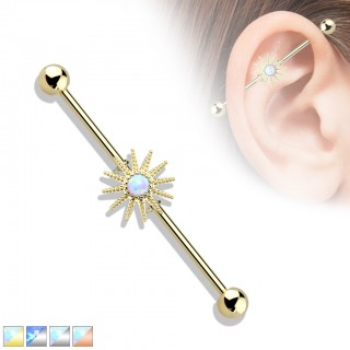 Coloured industrial barbell with opal sunburst centre
